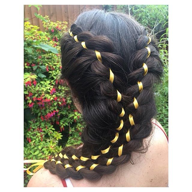 Dinah's hair inspiration (With images) | Hair ribbons, Brunette hair braids, Ribbon braids