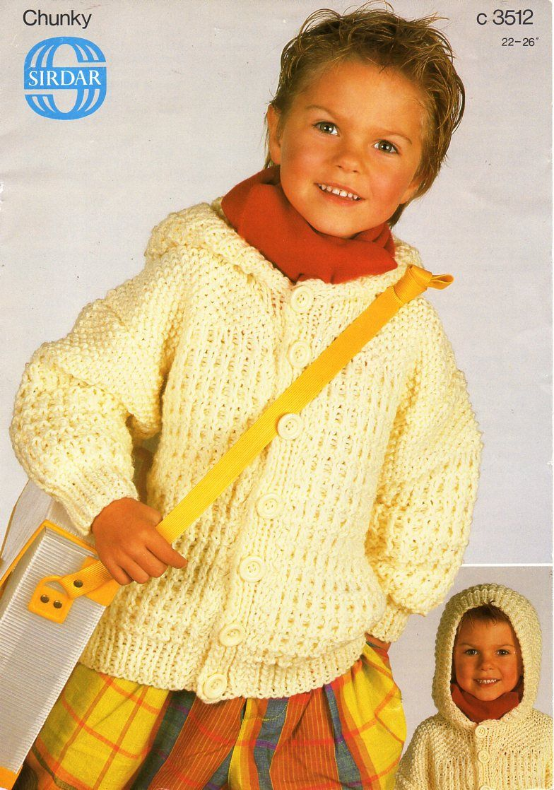 35af1d180bb7 childs   childrens hooded jacket knitting pattern pdf chunky ...