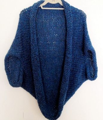 Free Shrug Pattern Stella Cocoon Cardigan Blanket Sweater | knitting ...