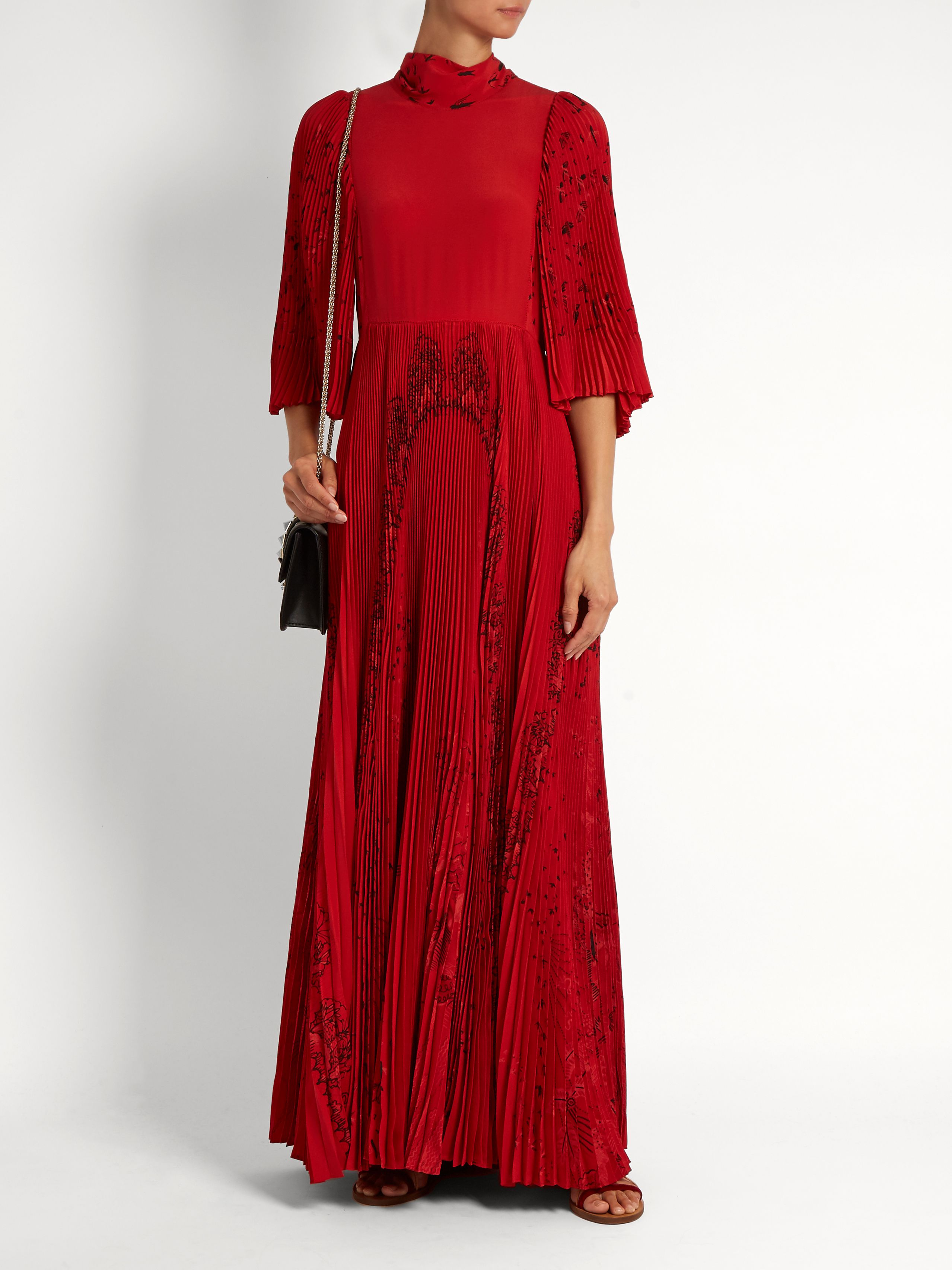 Jungle of Delight-print high-neck gown