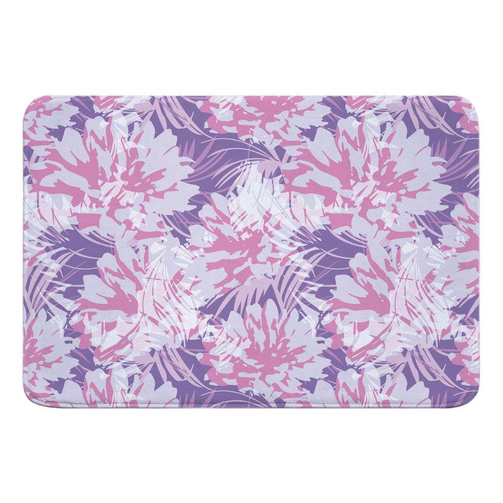 Purple Floral Fusion Memory Foam Bath Mat Tropical Bath Mats