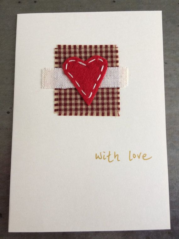 Beautiful Christmas Card With Hand Stitched Heart Detail in American