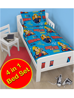 Fireman Sam Brave 4 In 1 Junior Rotary Bedding Bundle Set Duvet Pillow