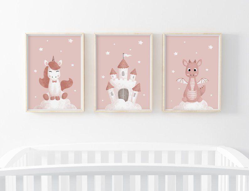 Lot 3 Affiches Enfant A4 A5 Collection Princesse Licorne