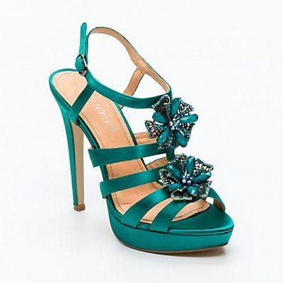 7a5f575c7 Sandales à talons aiguilles, cuir, vert émeraude et bleu ciel talon ...