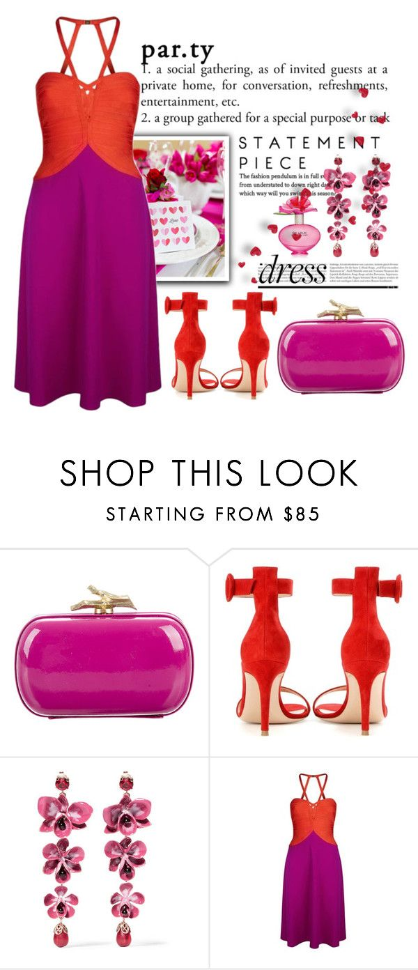 """Valentine Party"" by conch-lady ❤ liked on Polyvore featuring Diane Von Furstenberg, Gianvito Rossi, Etro, Hervé Léger, Marc Jacobs, TwotoneDresses, valentineparty and redandpinkdress"