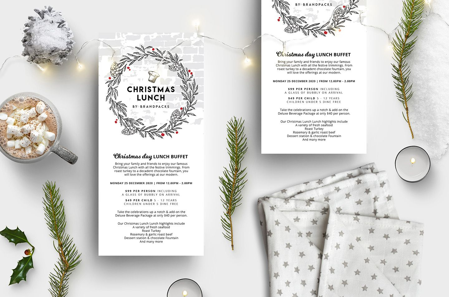 A Small Dl Sized Christmas Menu Template For Photoshop