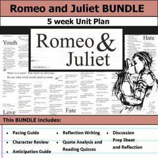 Romeo And Juliet Quotes And Meanings Romeo And Juliet Unit 5 Weeks Of Lesson Plansincludes Pacing Guide .