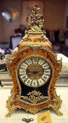 German Boulle Mantle Mantel Table Clock Franz Hermle Table Clock Mantle Clock