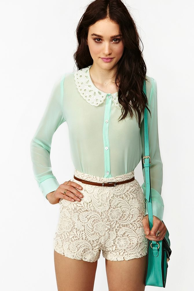 Frost Chiffon Blouse I'm mostly pinning this because I have those shorts and I have no idea what to wear them with