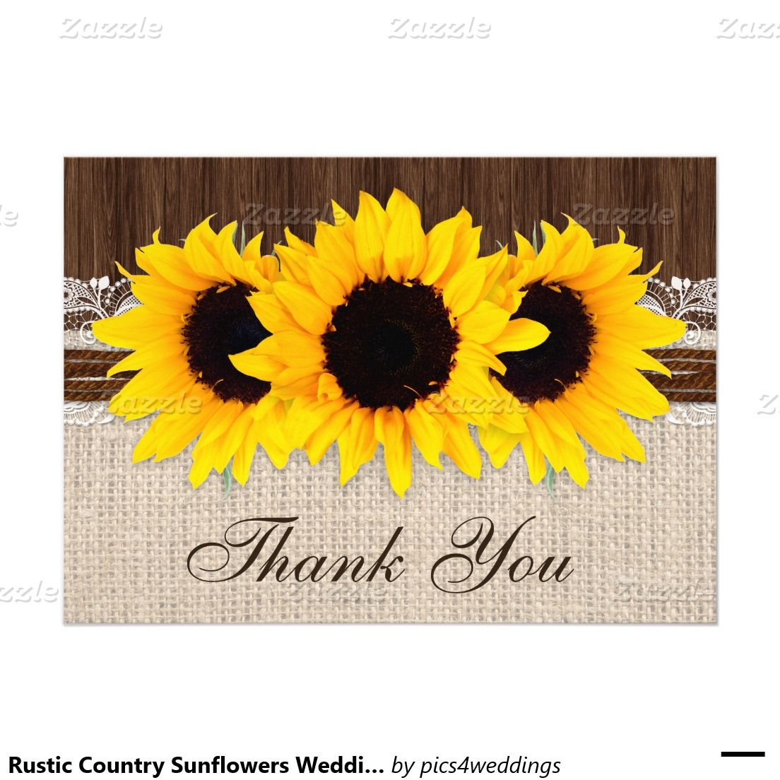 rustic country sunflowers wedding thank you card