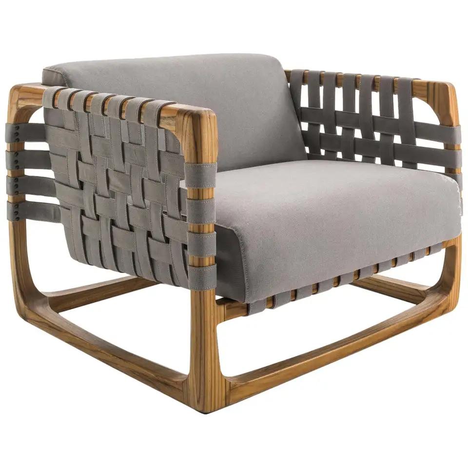 Webbing Outdoor Armchair In Solid Teak With Outdoor Fabric In 2020 Outdoor Armchair Teak Armchair Fabric Armchairs