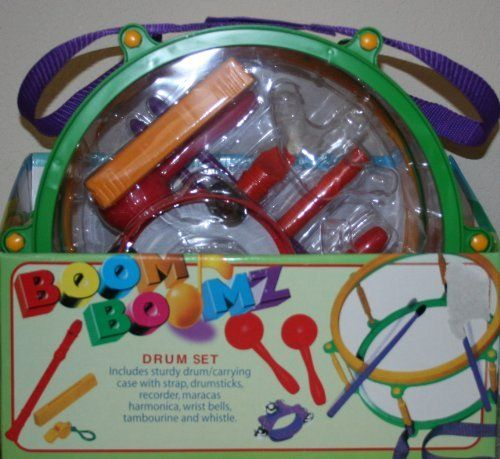 BOOM BOOMZ Drum Set - With Harmonica, Tambourine, Recorder, 2 Drumsticks, Strap and Sturdy Carrying Case, Marching Drum, Wrist Bells, Maracas and Whistle by Polyfect Toy Co.. $40.00. Encourages self-impression.  Builds relationships with peers. Brings families together.. Sharpens hand-eye coordination. Develops a sense of rhythm. Boosts self-confidence, Builds self-discipline, Makes learning fun.. Develops abstract reasoning and problem solving skills, Promotes co...