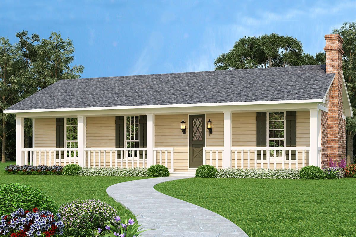 House Plan 048 00266 Ranch Plan 1 365 Square Feet 3 Bedrooms 2 Bathrooms In 2020 Ranch House Exterior Ranch House Plans Simple Ranch House Plans