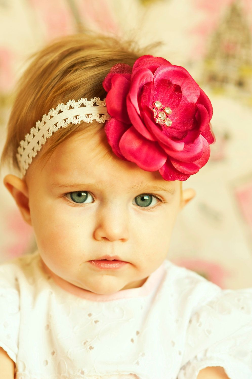 baby hair bow flower clip beautiful violet hairbow