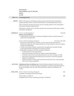 Cosmetologist Resume Template Sample  HttpTopresumeInfo