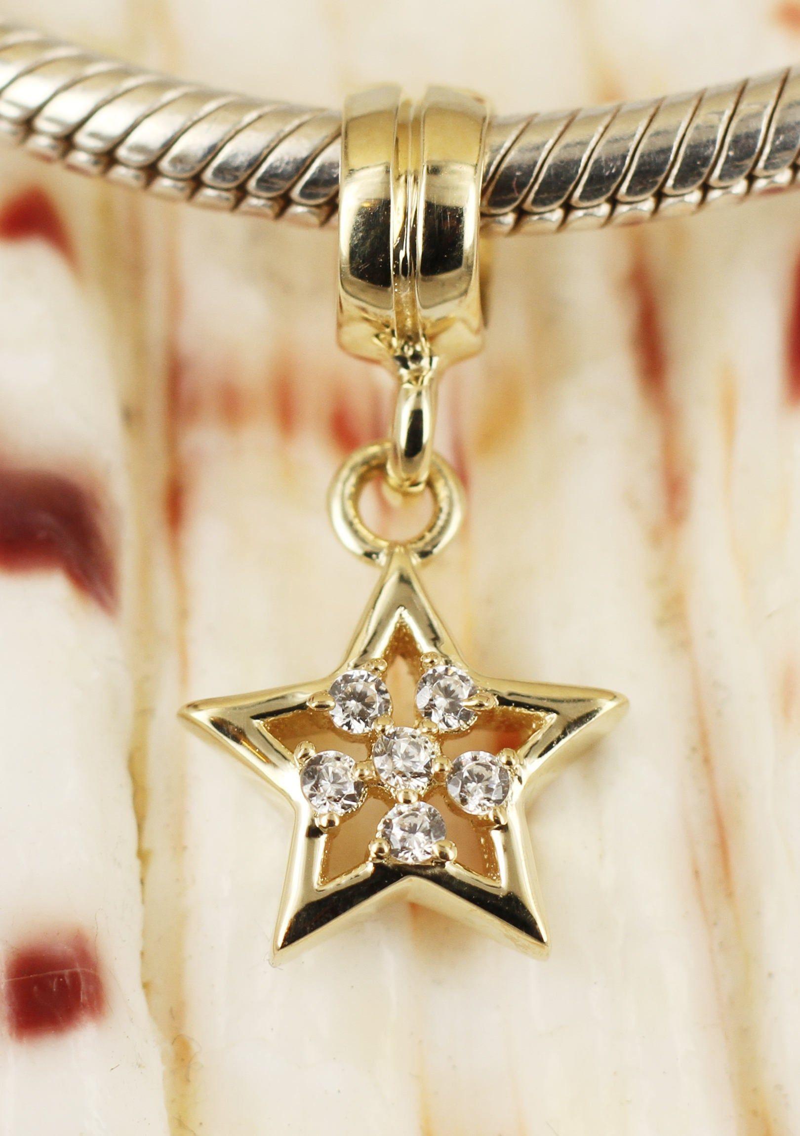 Necklace Vermeil GOLD Sterling Silver Bar Dangle BEAD Fits Charm Bracelet