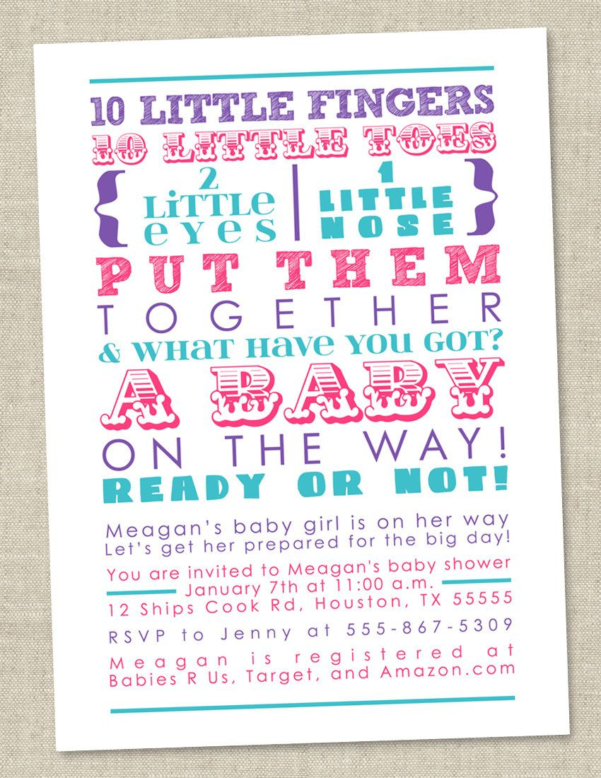 Pink and Purple Girl Baby Shower Invitation - subway art ...