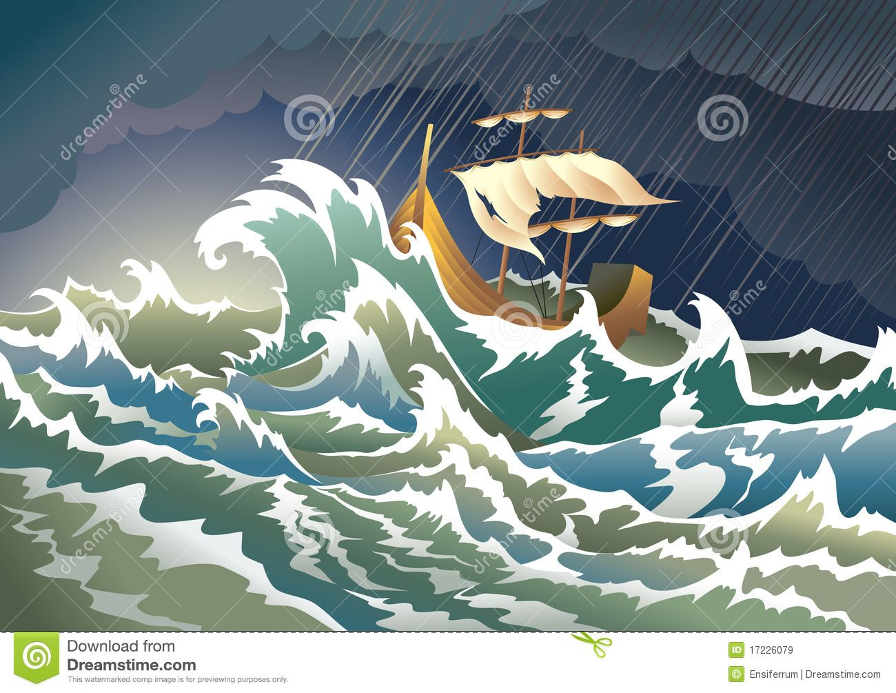 Illustration About Storm At The Sea Sinking Ship Heavy