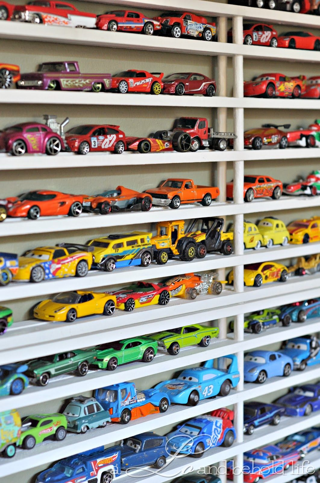 Diy Toy Car Display Storage From Cheap Shoe Racks So Fun For Boys Who Love Cars Toy Car Display