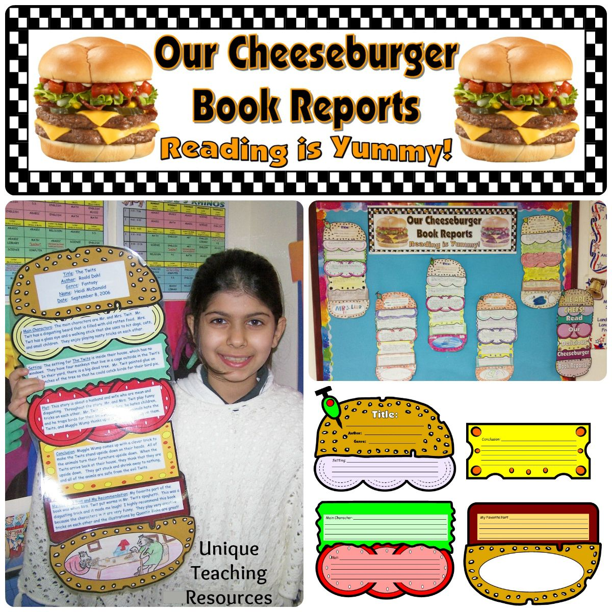hamburger book report project Hamburger book report project score sheet name_____ class period_____ top bun (title)_____ title with name and class period  2.