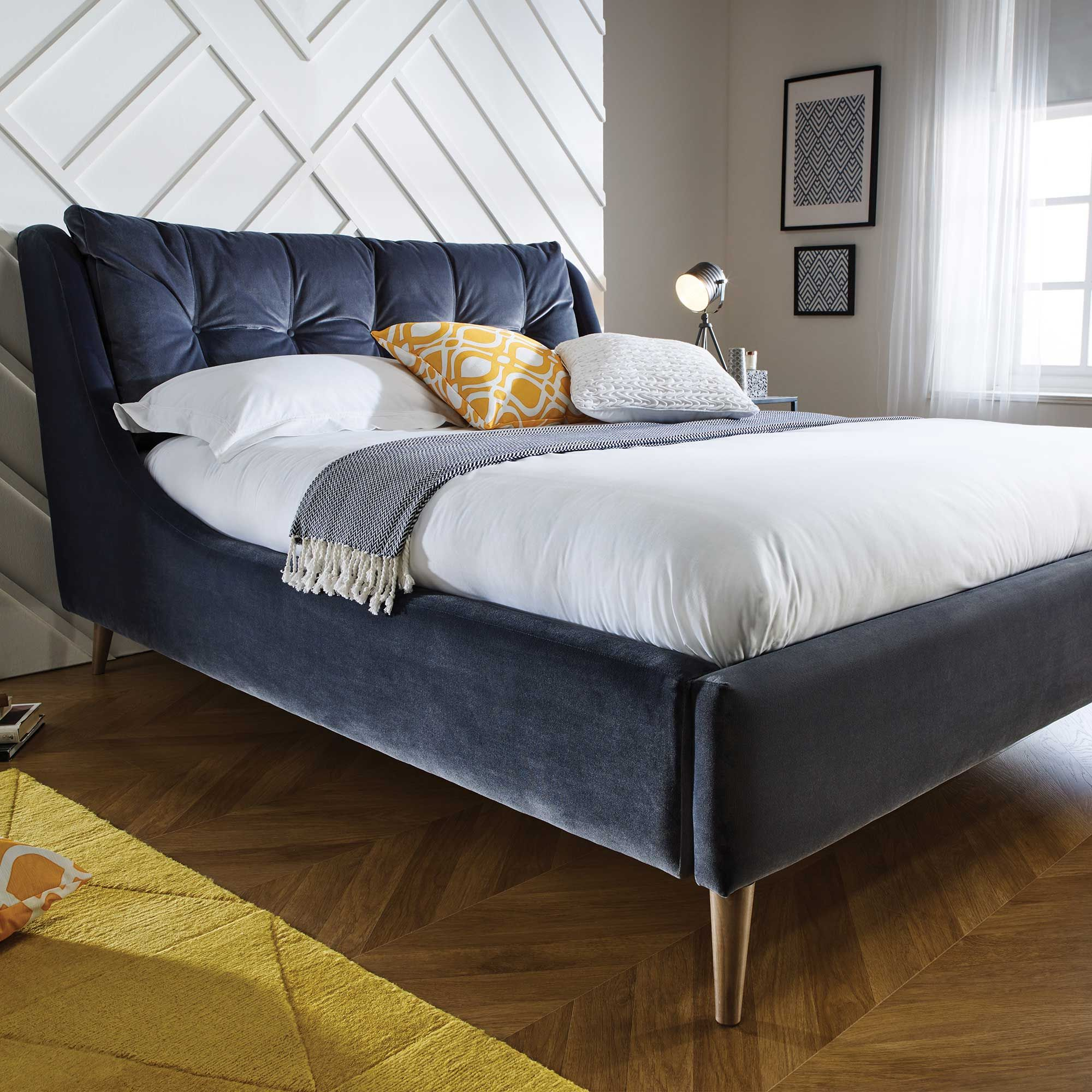 like curve not sure about pillowed headboard Raul Bed Frame Choice Fabric available online at Barker & Stonehouse Browse our fabulous range today