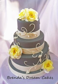 Small 1 Tier Wedding Cake Gray And Yellow Google Search