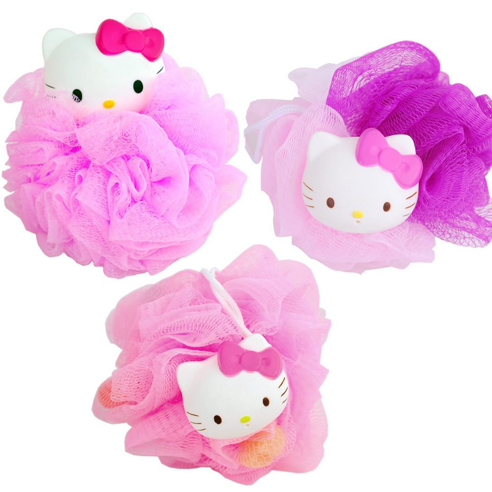Hello Kitty Beep Sound Shower Soap Bubble Body Wash  Puff Sponge Mesh Net Ball  #shabath