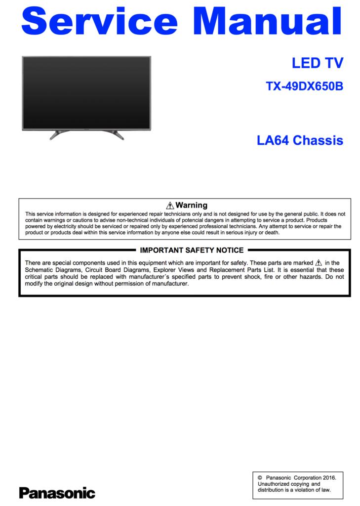 Panasonic TX-49DX650B Service Manual Complete | Panasonic Service
