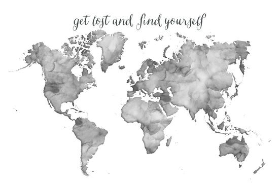 black and white watercolor world map get lost and find yourself canvas print