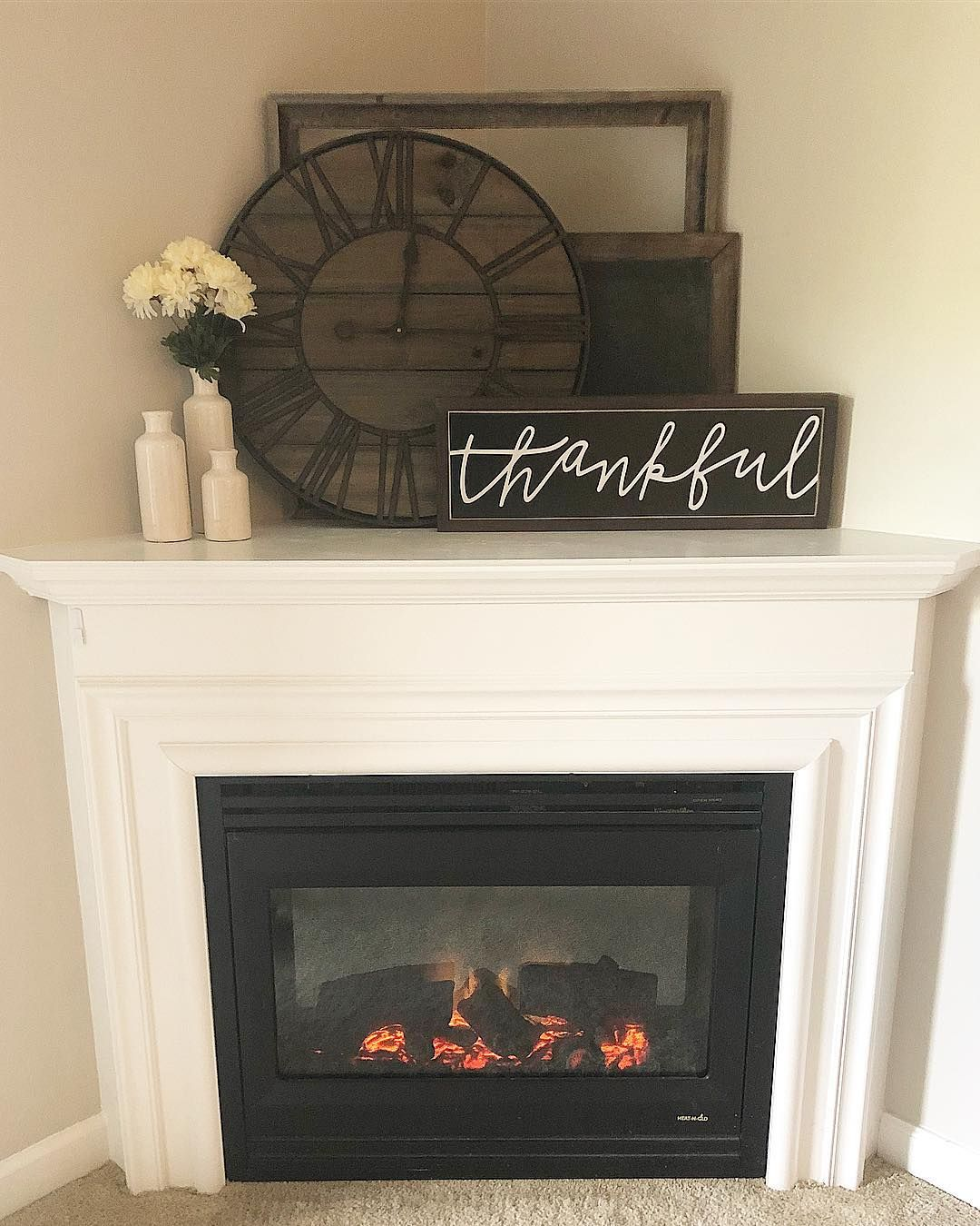"""Photo of amanda oden on Instagram: """"I was stuck on how to decorate this awkward corner, then remembered Holly & Brad's mantle at  @ourfauxfarmhouse and got inspired! Have a…"""""""