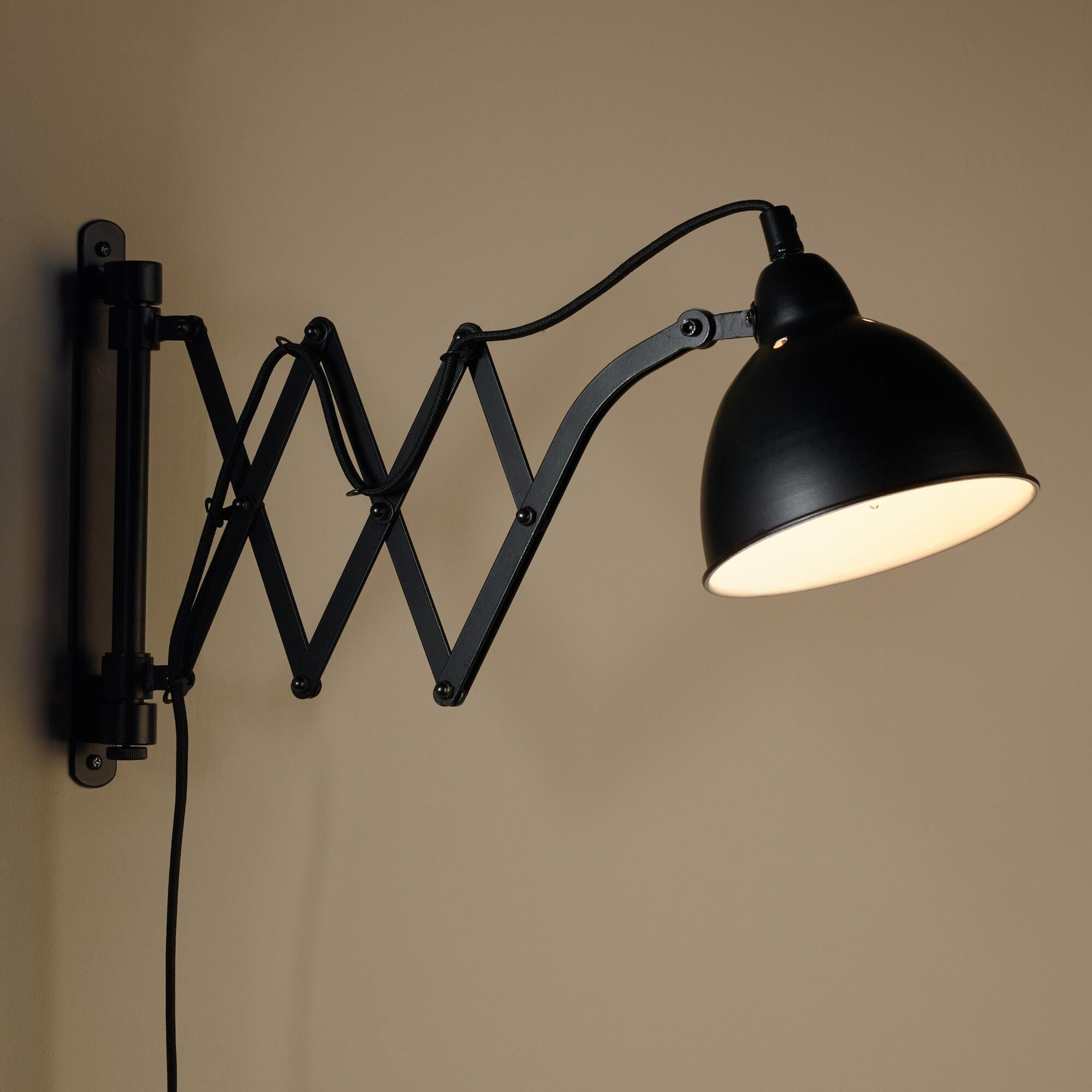 Black Metal Accordion Wall Sconce Wall Mount Reading