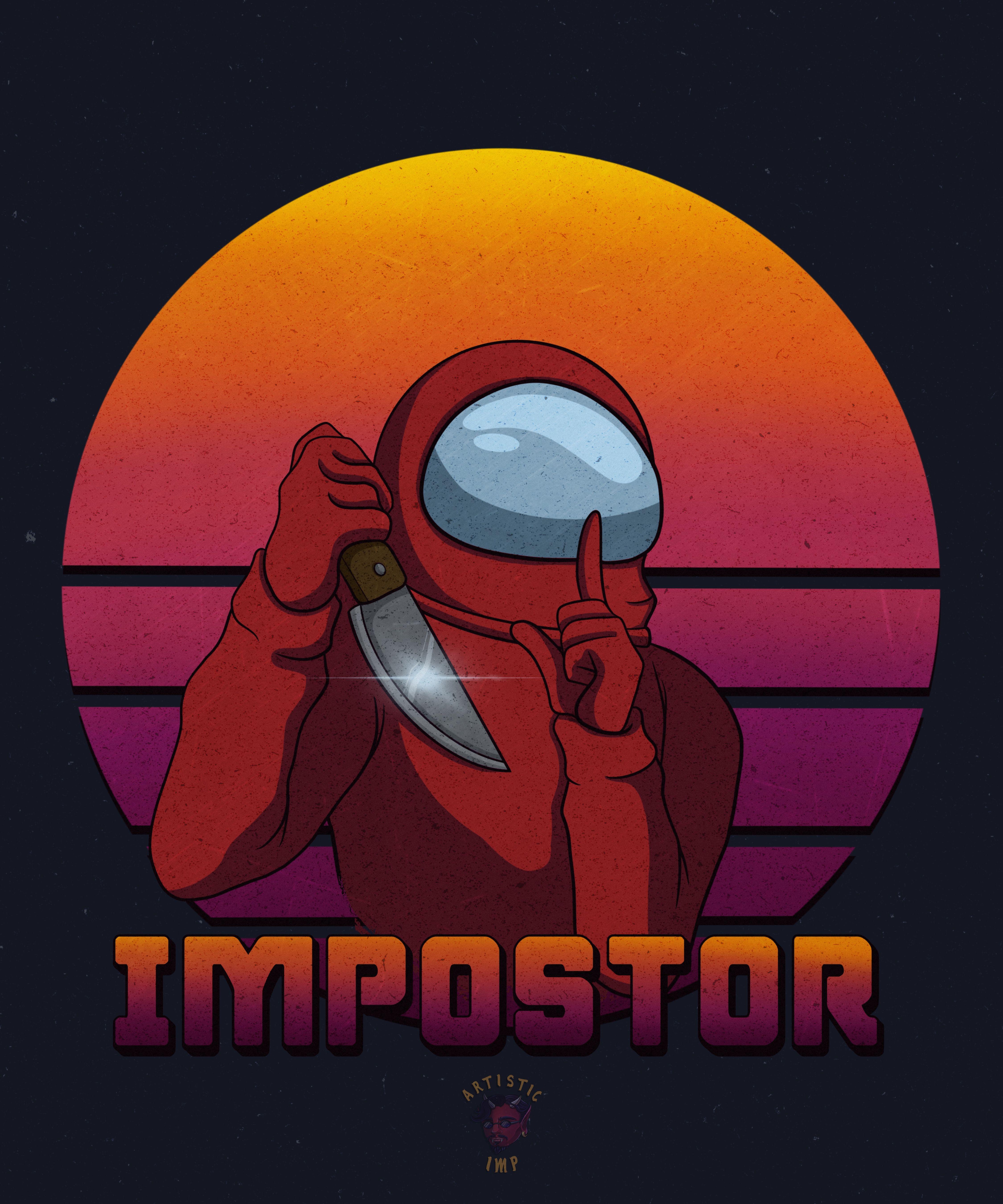 Among Us Impostor Red Crewmate Brown Art Drawing Tutorial Supreme Iphone Wallpaper