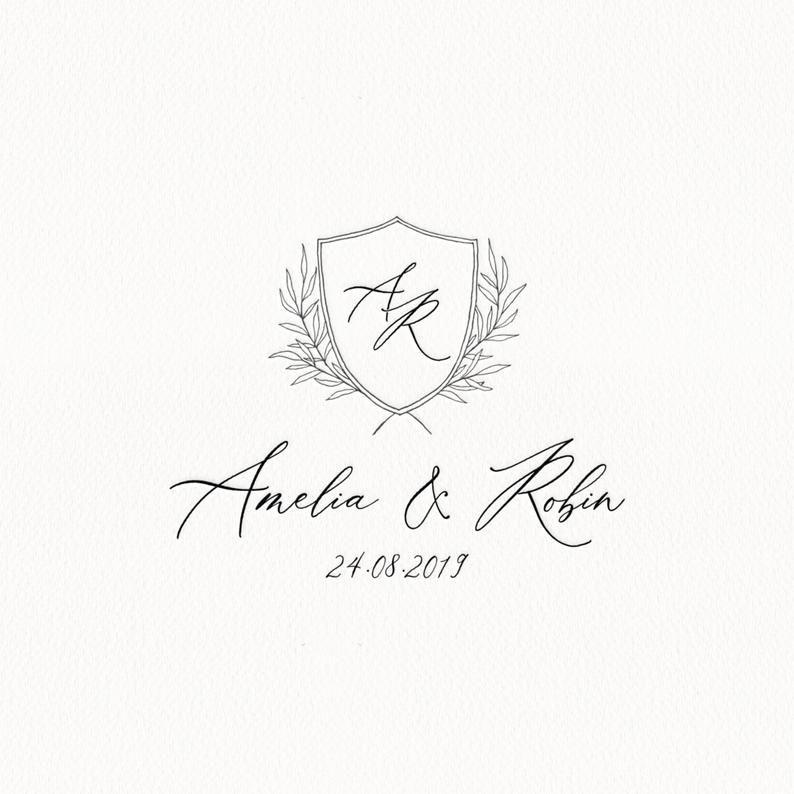 Wedding Logo Design Custom Wedding Monogram Crest Wedding Logo