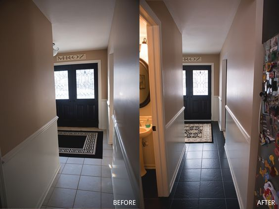 Painted Tile Floor Using B I N Primer And Behr Concrete Garage