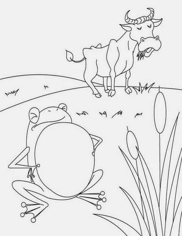 Printable The Frogs and the Ox - Aesop Coloring Page | Dkidspage ...