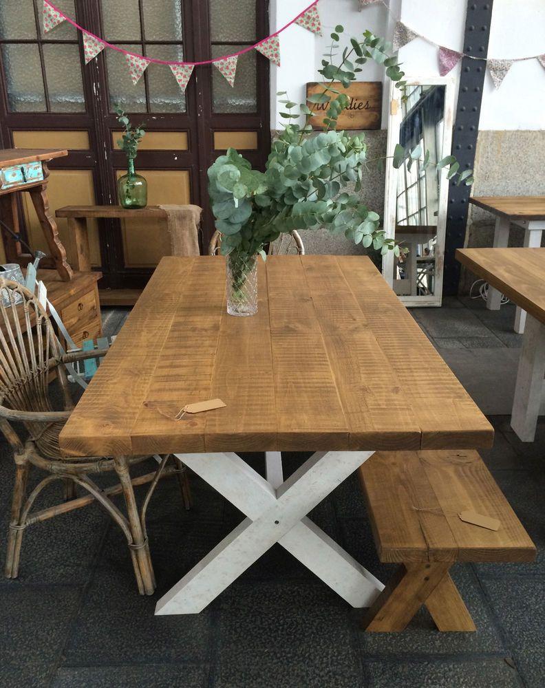 Mesa madera maciza vintage rustica chic industrial - Mesa rustica madera ...