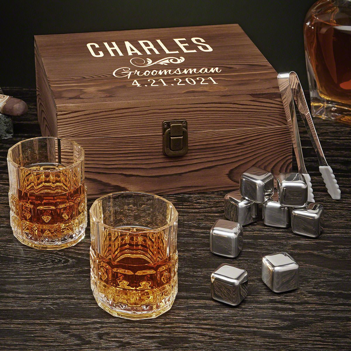 Classic Groomsman Personalized Whiskey Set Gift for