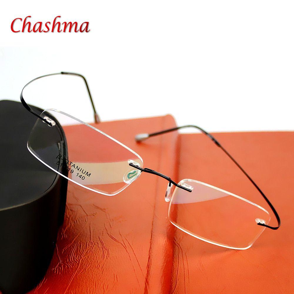 9f7463a513f 2016 Brand Optics Glasses Titanium Rimless Ultra Light Glasses Frame  Eyeglasses Men women With Original Case Oculos de grau