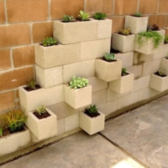 Decorative Cinder Block flower pots | DIY projects to try ...
