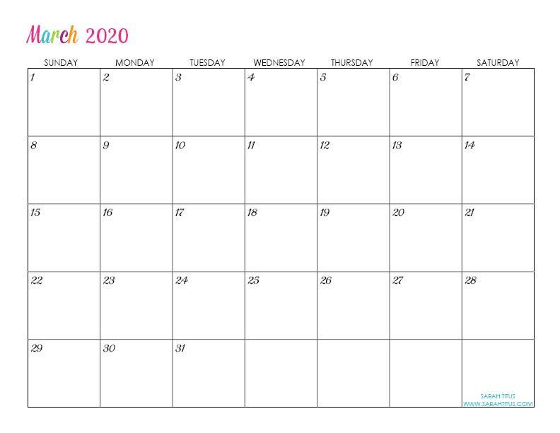 Custom Editable 2020 Free Printable Calendars Calendar Printables Free Printable Calendar Free Calendar Template