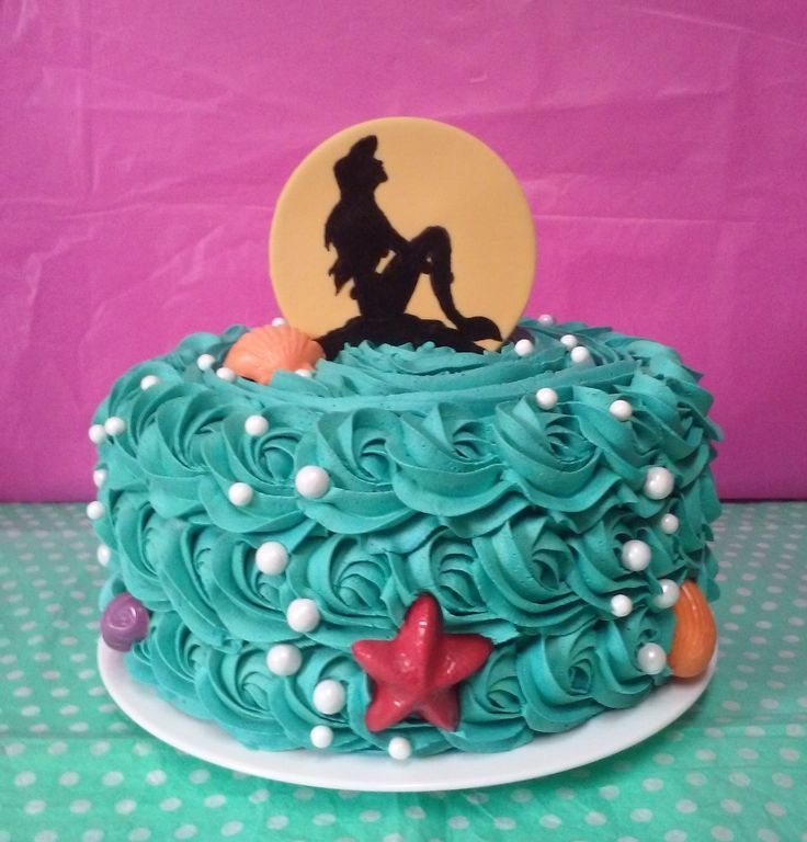 Mermaid Silhouette Birthday Rose Swirl Cake, Disney