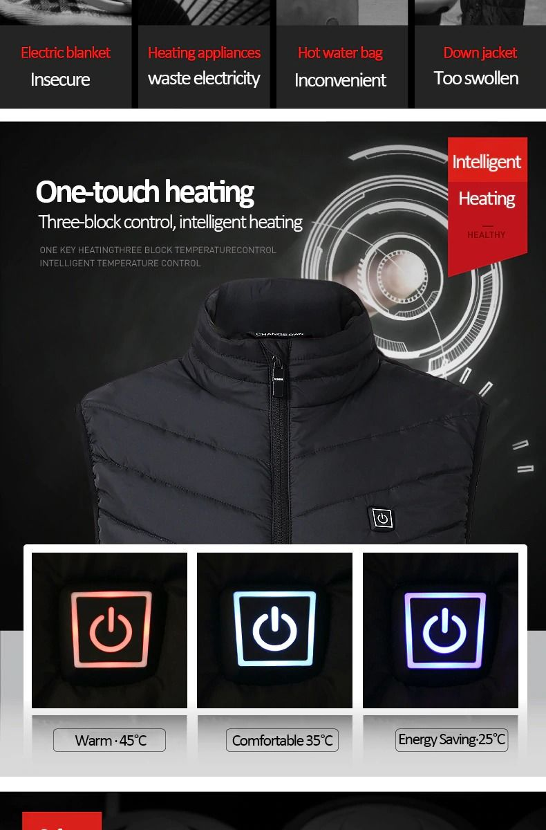 RECHARGEABLE HEATED VEST. Price: 20 bucks 😱 Link:  http://s.click.aliexpress.com/e/2z1PbrM4 STAY WARM ON YOUR RIDES WITH THIS  REV…   Hiking vest, Jackets, Heat