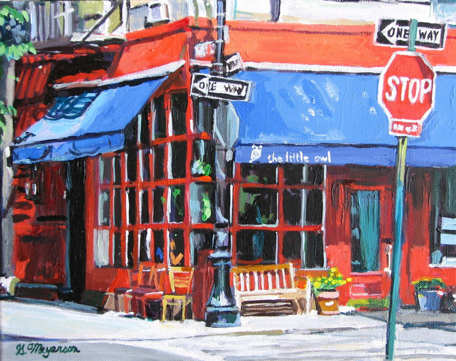 NYC Painting New York Art Little Owl  Cafe Greenwich Village Wall     NYC Painting New York Art Little Owl  Cafe Greenwich Village Wall Decor  Print red and