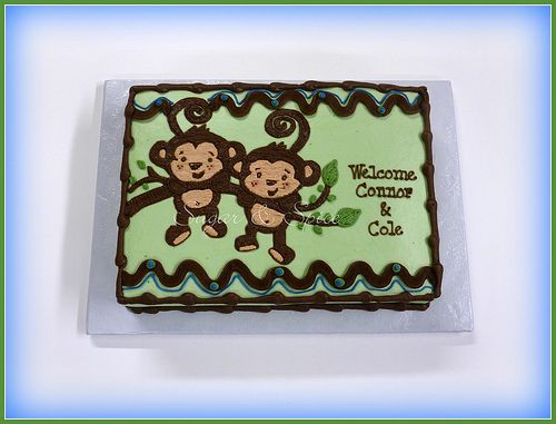 Shower Cakes For Twins Twin Monkey Baby Shower Baby Shower Cake