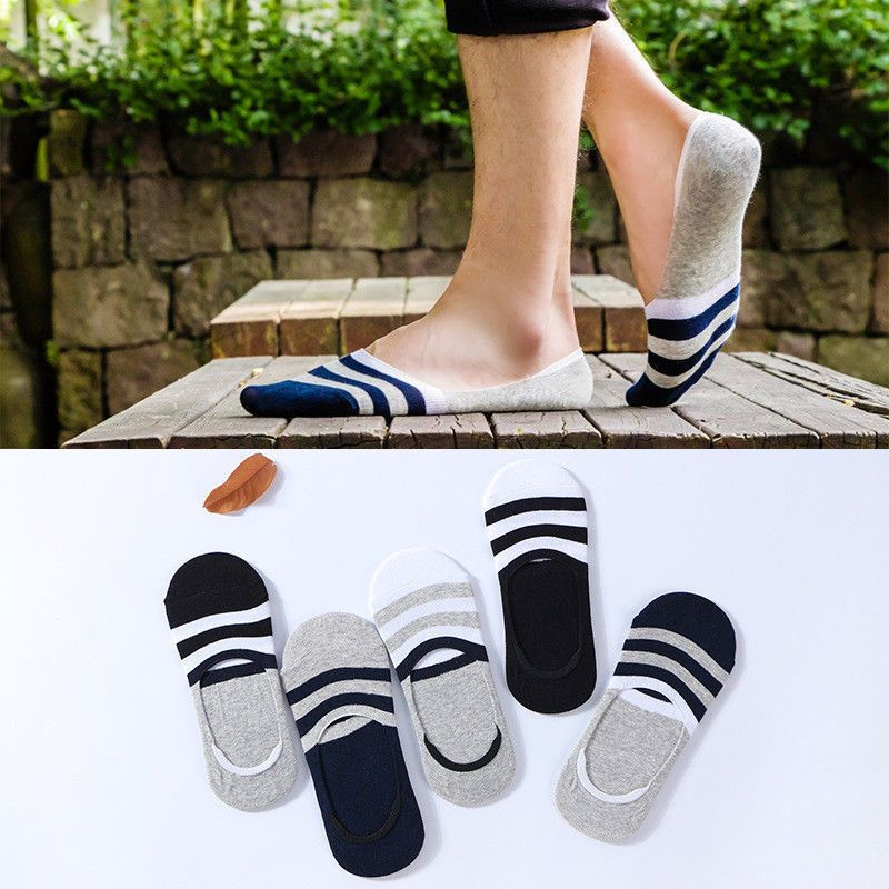 5-10 Pairs Men Cotton Loafer Boat Invisible No Show Nonslip Liner Boat Socks