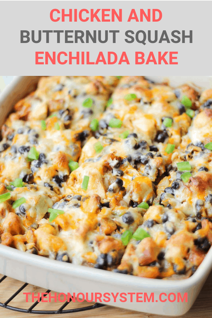 This Chicken Enchilada Bake with Butternut Squash & Black Beans is a healthy, veggie centered casserole recipe. It is layered with vegetables and chicken then topped with cheese and baked to bubbly perfection.
