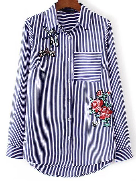 be82d93b86 Embroidery stripped blouse   Virtual wardrobe   Shirt blouses ...