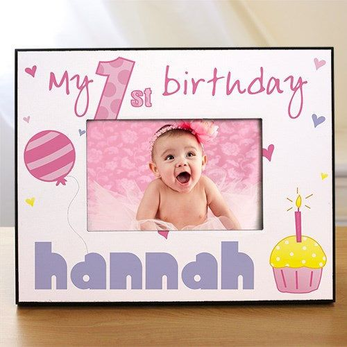 Baby Girl First Birthday Frame Gift  Personalized 1st Birthday Printed Picture Frame, Custom Girl's First Birthday Gift by PreppyPinkies on Etsy