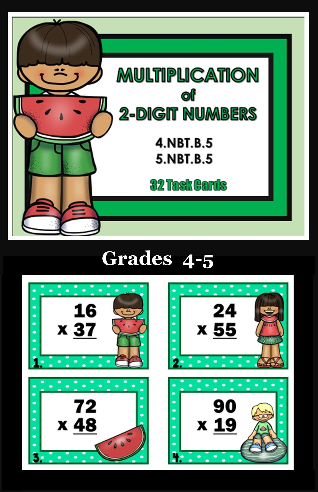 Multiplication Of 2 Digit Numbers 32 Task Cards Common